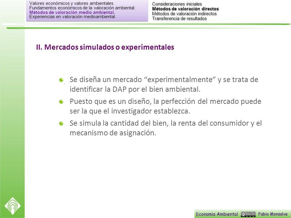 II. Mercados simulados o experimentales