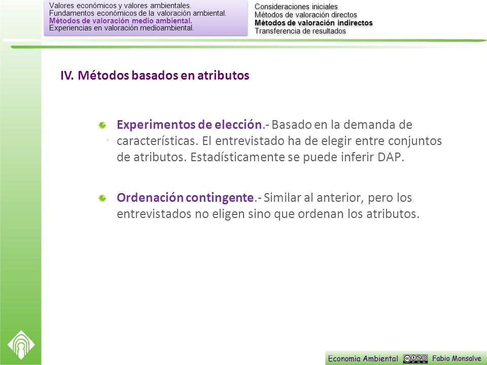 IV. Métodos basados en atributos