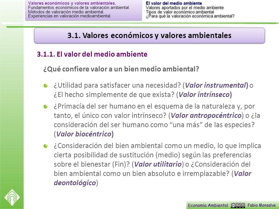 3.1.1. El valor del medio ambiente
