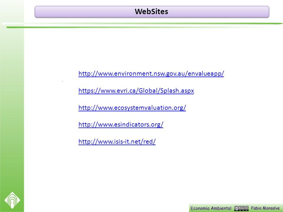 WebSites http://www.environment.nsw.gov.au/envalueapp/