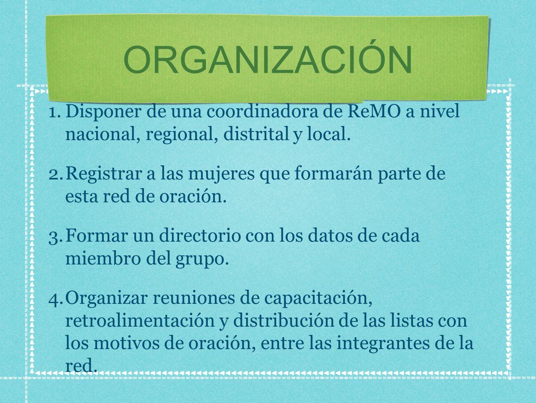 ORGANIZACIÓN Disponer de una coordinadora de ReMO a nivel nacional, regional, distrital y local.