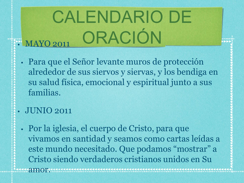 CALENDARIO DE ORACIÓN MAYO 2011