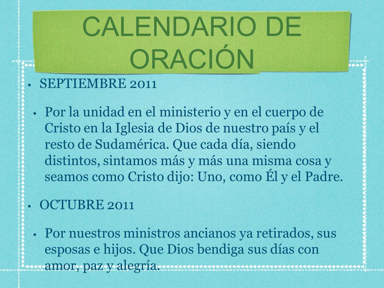 CALENDARIO DE ORACIÓN SEPTIEMBRE 2011