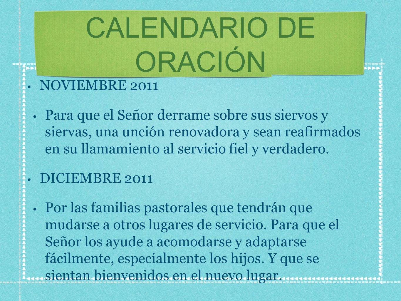 CALENDARIO DE ORACIÓN NOVIEMBRE 2011