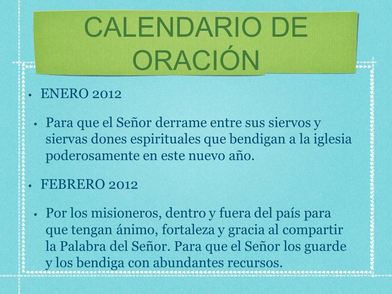 CALENDARIO DE ORACIÓN ENERO 2012