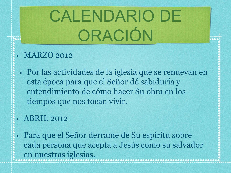 CALENDARIO DE ORACIÓN MARZO 2012