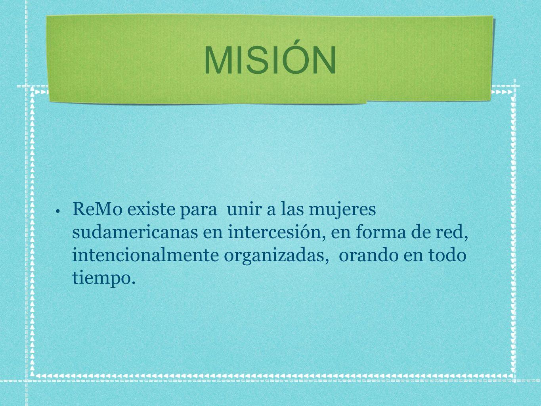 MISIÓN ReMo existe para unir a las mujeres sudamericanas en intercesión, en forma de red, intencionalmente organizadas, orando en todo tiempo.