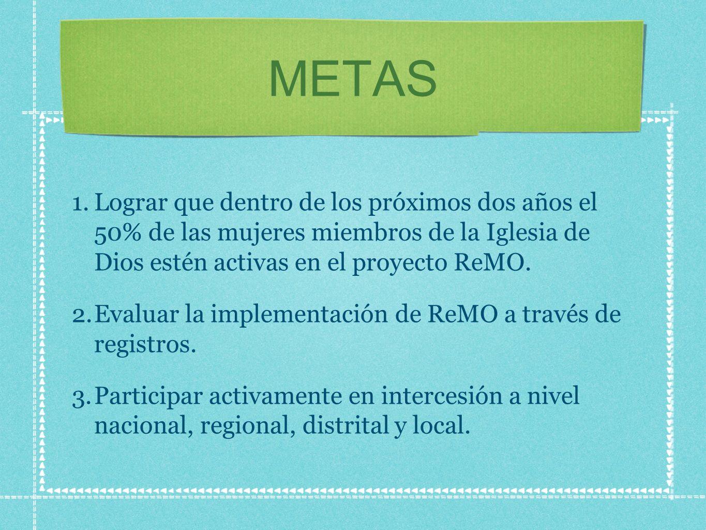METAS Lograr que dentro de los próximos dos años el 50% de las mujeres miembros de la Iglesia de Dios estén activas en el proyecto ReMO.