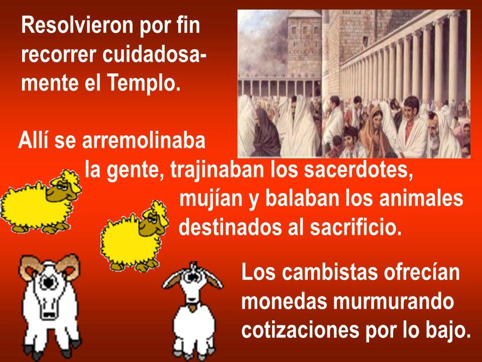 Resolvieron por finrecorrer cuidadosa- mente el Templo. Allí se arremolinaba. la gente, trajinaban los sacerdotes,