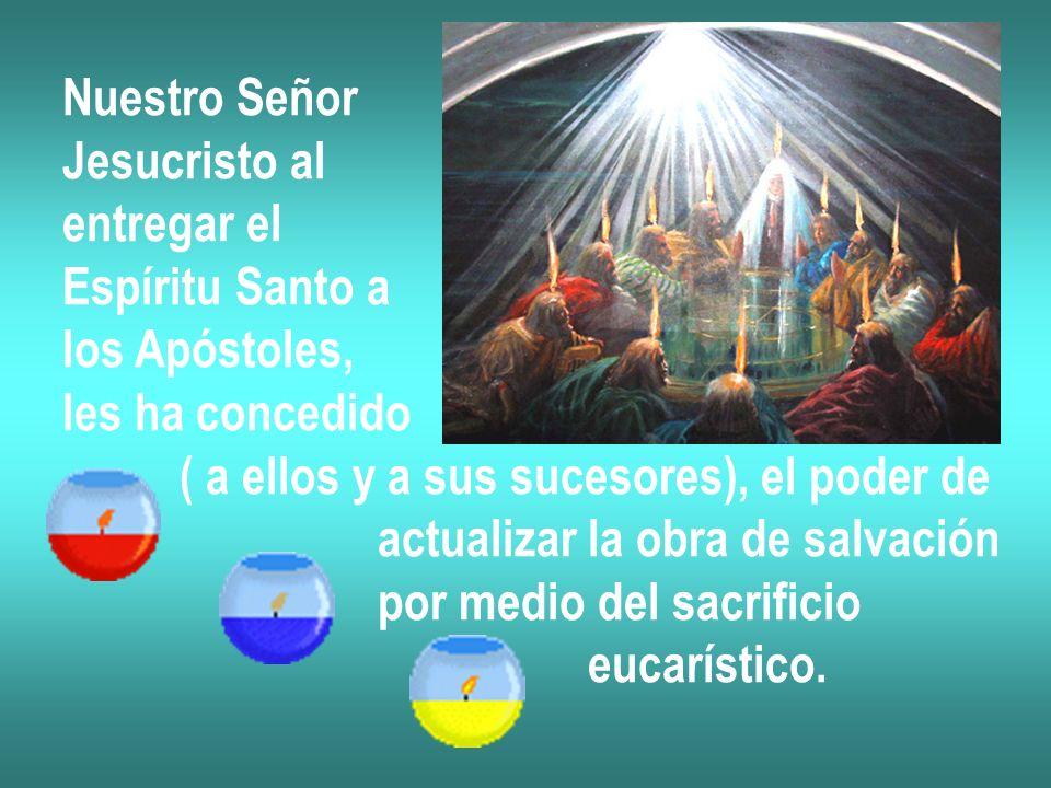 Nuestro Señor Jesucristo al. entregar el. Espíritu Santo a. los Apóstoles, les ha concedido. ( a ellos y a sus sucesores), el poder de.