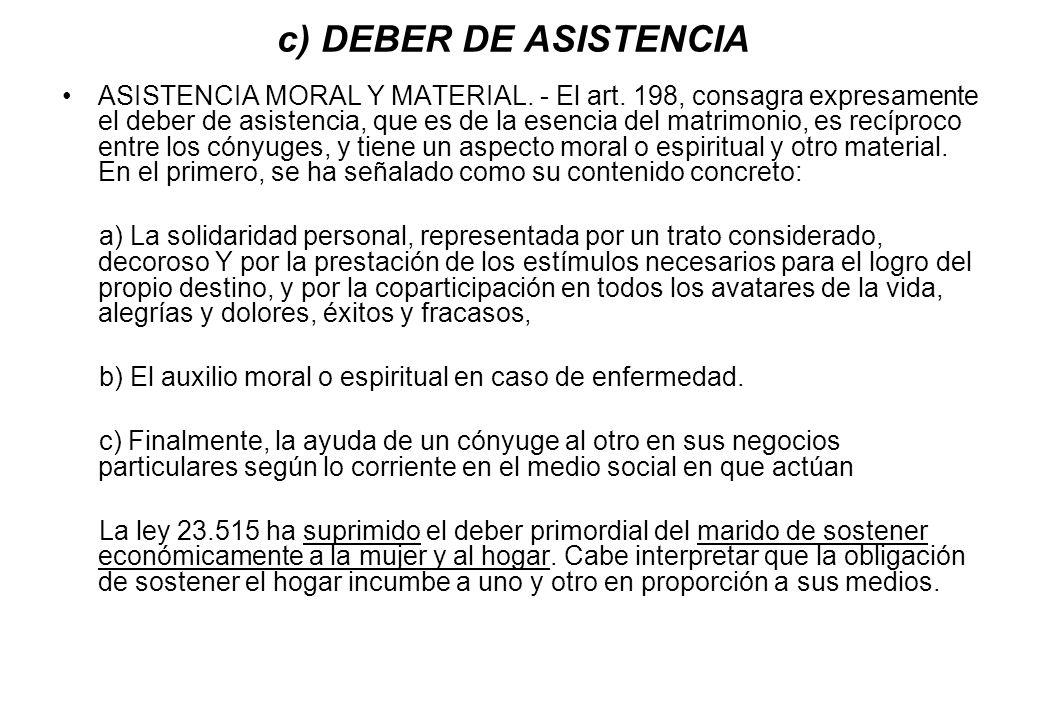 c) DEBER DE ASISTENCIA