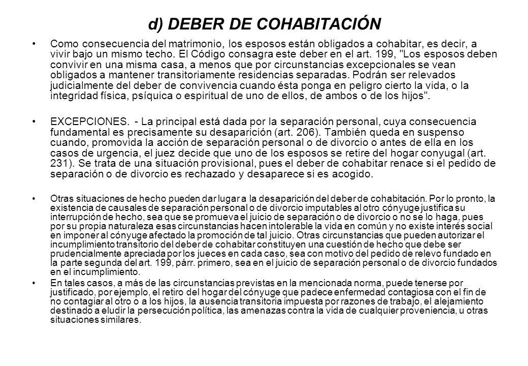d) DEBER DE COHABITACIÓN