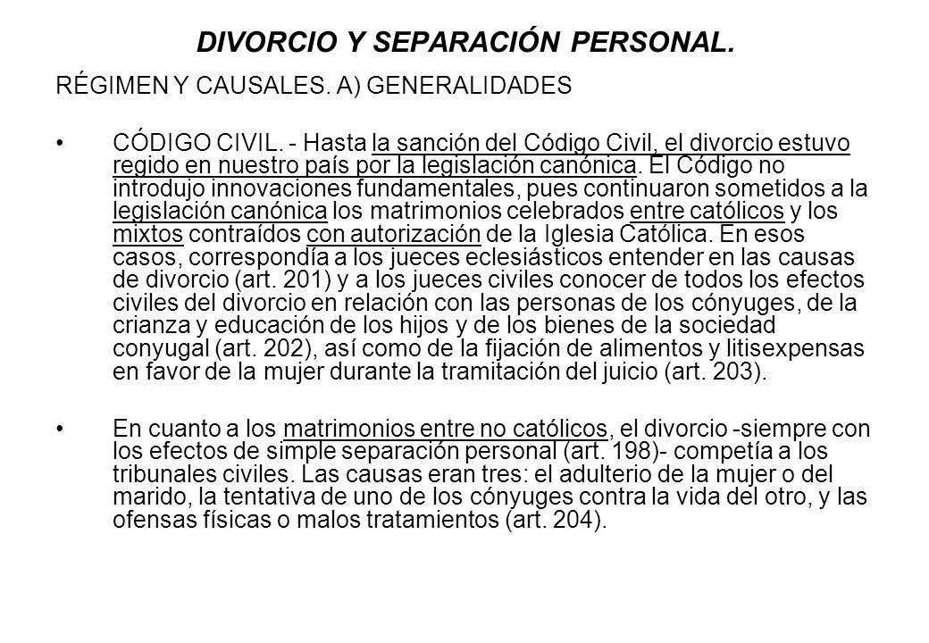 DIVORCIO Y SEPARACIÓN PERSONAL.