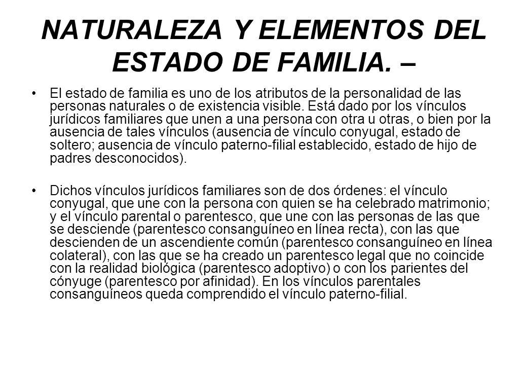 NATURALEZA Y ELEMENTOS DEL ESTADO DE FAMILIA. –