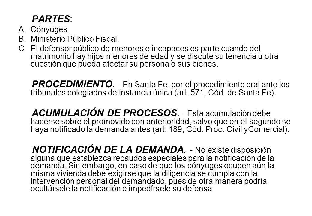 PARTES: Cónyuges. Ministerio Público Fiscal.