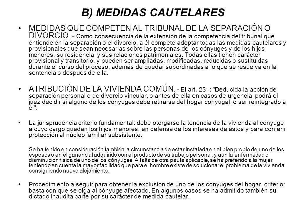 B) MEDIDAS CAUTELARES
