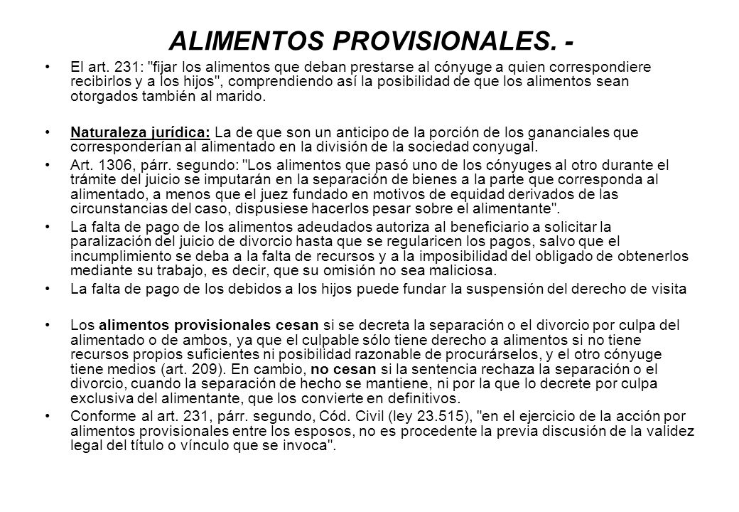 ALIMENTOS PROVISIONALES. -