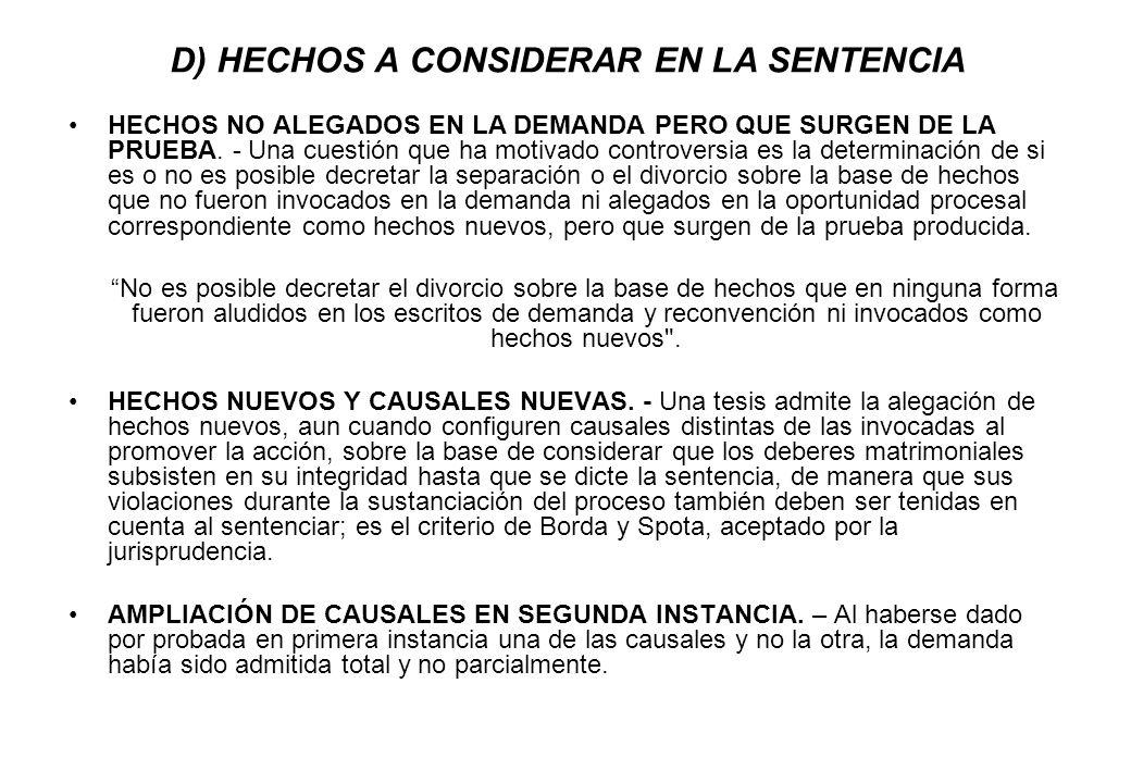 D) HECHOS A CONSIDERAR EN LA SENTENCIA