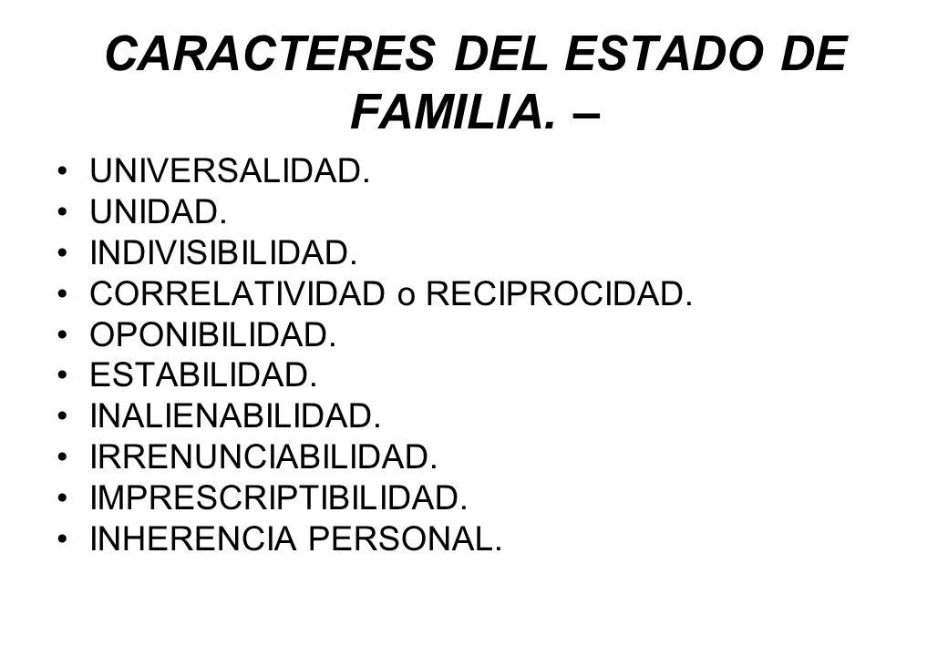 CARACTERES DEL ESTADO DE FAMILIA. –