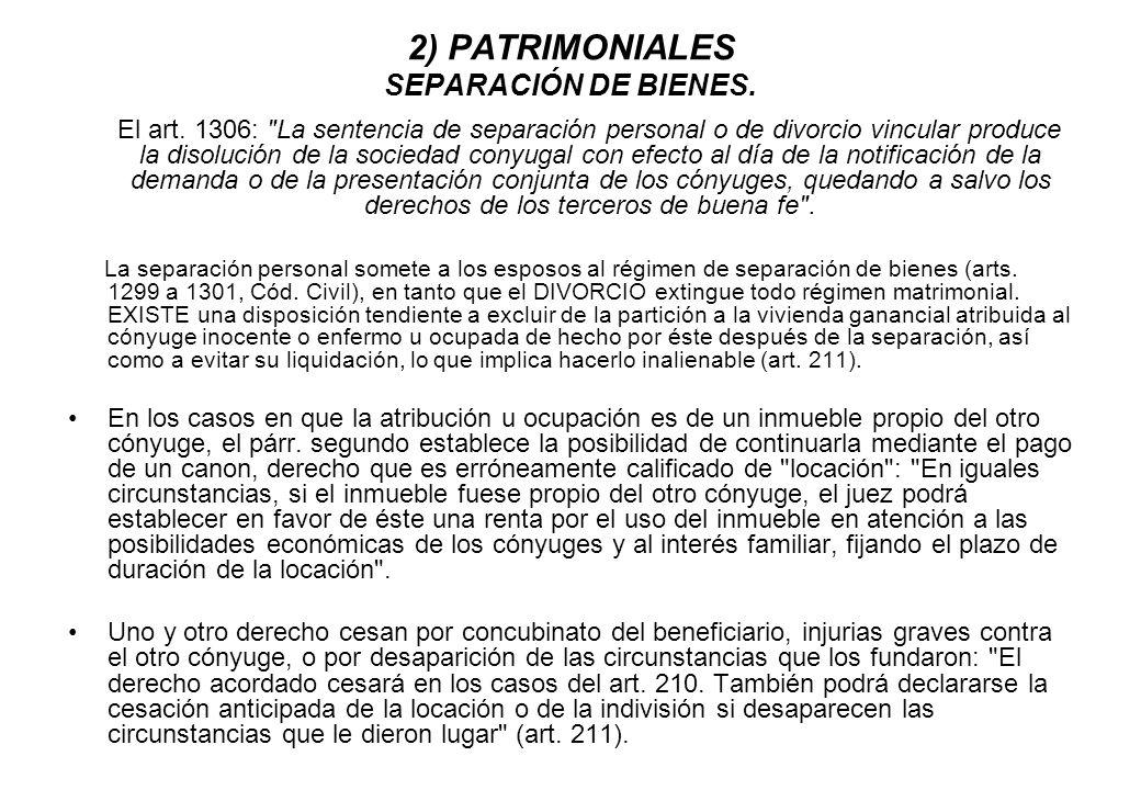 2) PATRIMONIALES SEPARACIÓN DE BIENES.