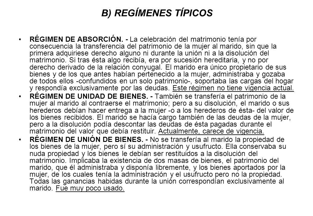 B) REGÍMENES TÍPICOS
