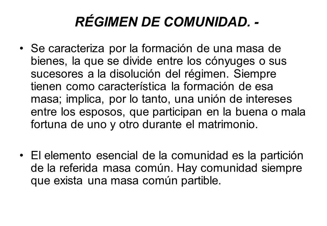 RÉGIMEN DE COMUNIDAD. -