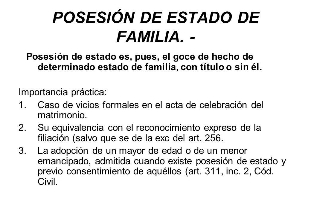 POSESIÓN DE ESTADO DE FAMILIA. -