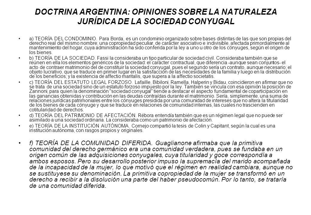 DOCTRINA ARGENTINA: OPINIONES SOBRE LA NATURALEZA JURÍDICA DE LA SOCIEDAD CONYUGAL
