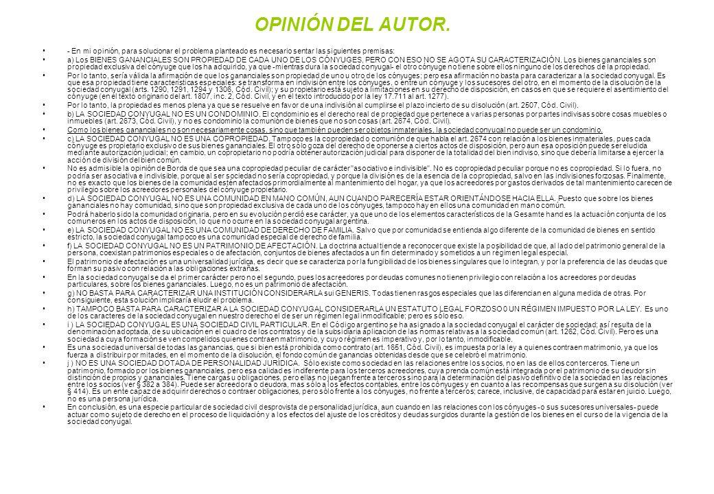 OPINIÓN DEL AUTOR. - En mi opinión, para solucionar el problema planteado es necesario sentar las siguientes premisas: