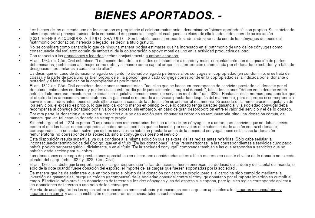 BIENES APORTADOS. -