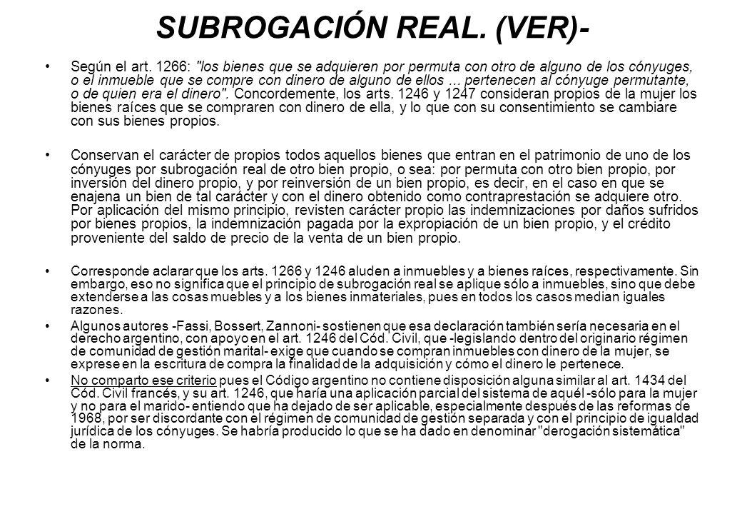 SUBROGACIÓN REAL. (VER)-