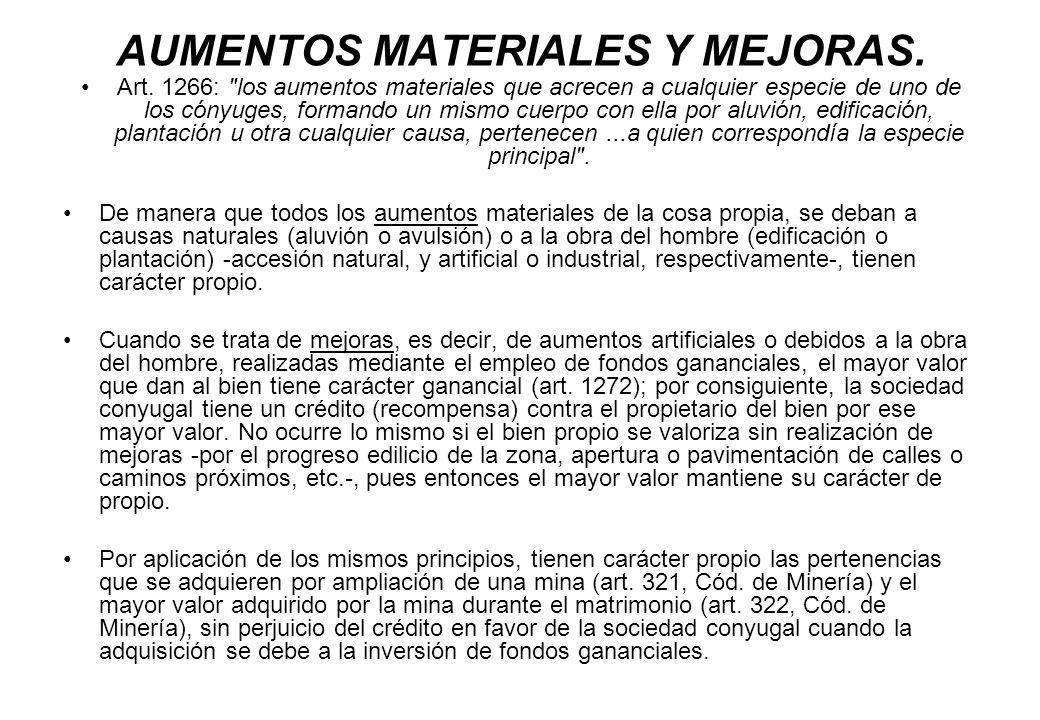 AUMENTOS MATERIALES Y MEJORAS.