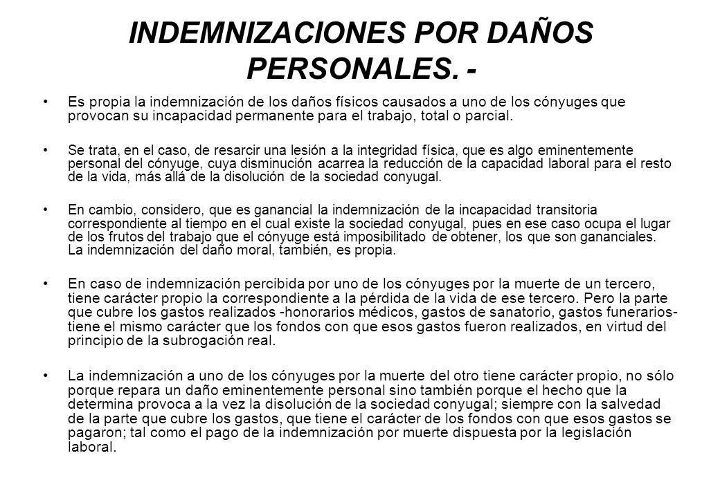 INDEMNIZACIONES POR DAÑOS PERSONALES. -