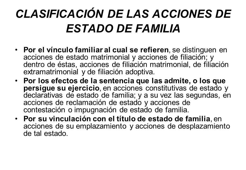 CLASIFICACIÓN DE LAS ACCIONES DE ESTADO DE FAMILIA