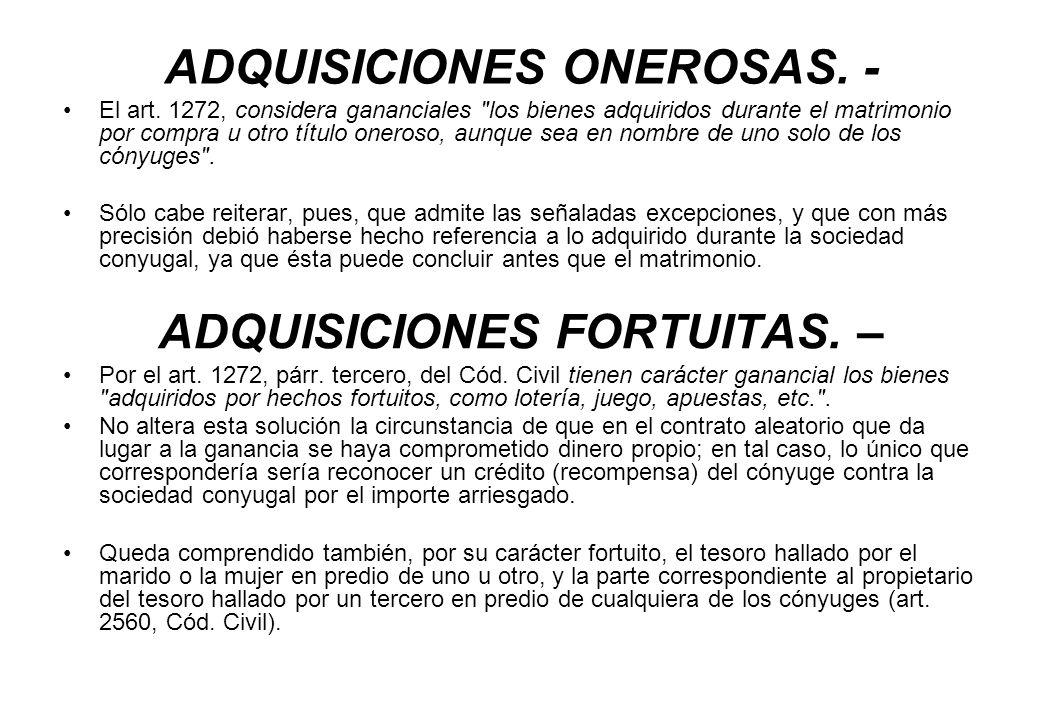 ADQUISICIONES ONEROSAS. -