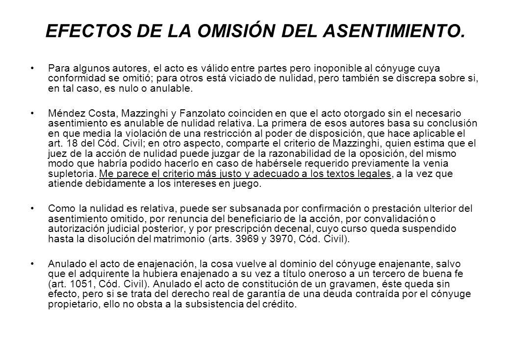 EFECTOS DE LA OMISIÓN DEL ASENTIMIENTO.