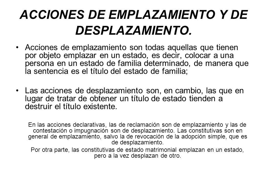 ACCIONES DE EMPLAZAMIENTO Y DE DESPLAZAMIENTO.