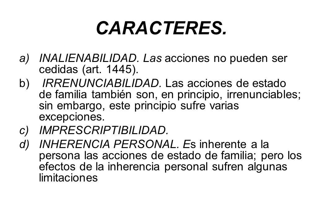CARACTERES. INALIENABILIDAD. Las acciones no pueden ser cedidas (art. 1445).