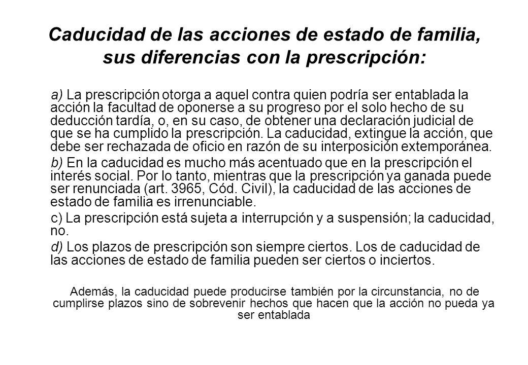 Caducidad de las acciones de estado de familia, sus diferencias con la prescripción: