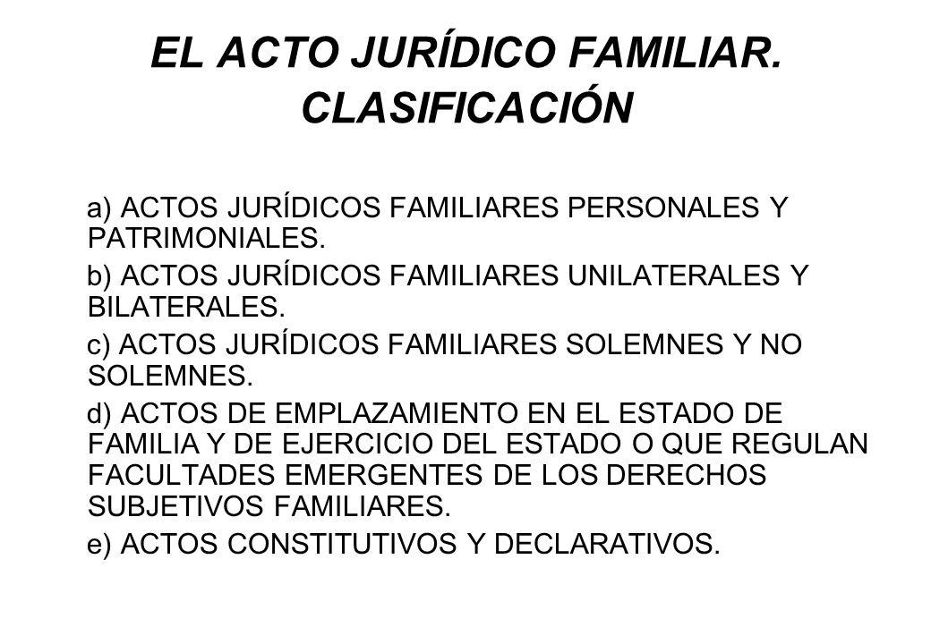 EL ACTO JURÍDICO FAMILIAR. CLASIFICACIÓN