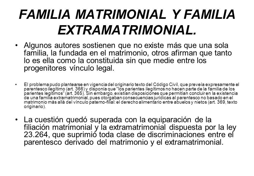 FAMILIA MATRIMONIAL Y FAMILIA EXTRAMATRIMONIAL.