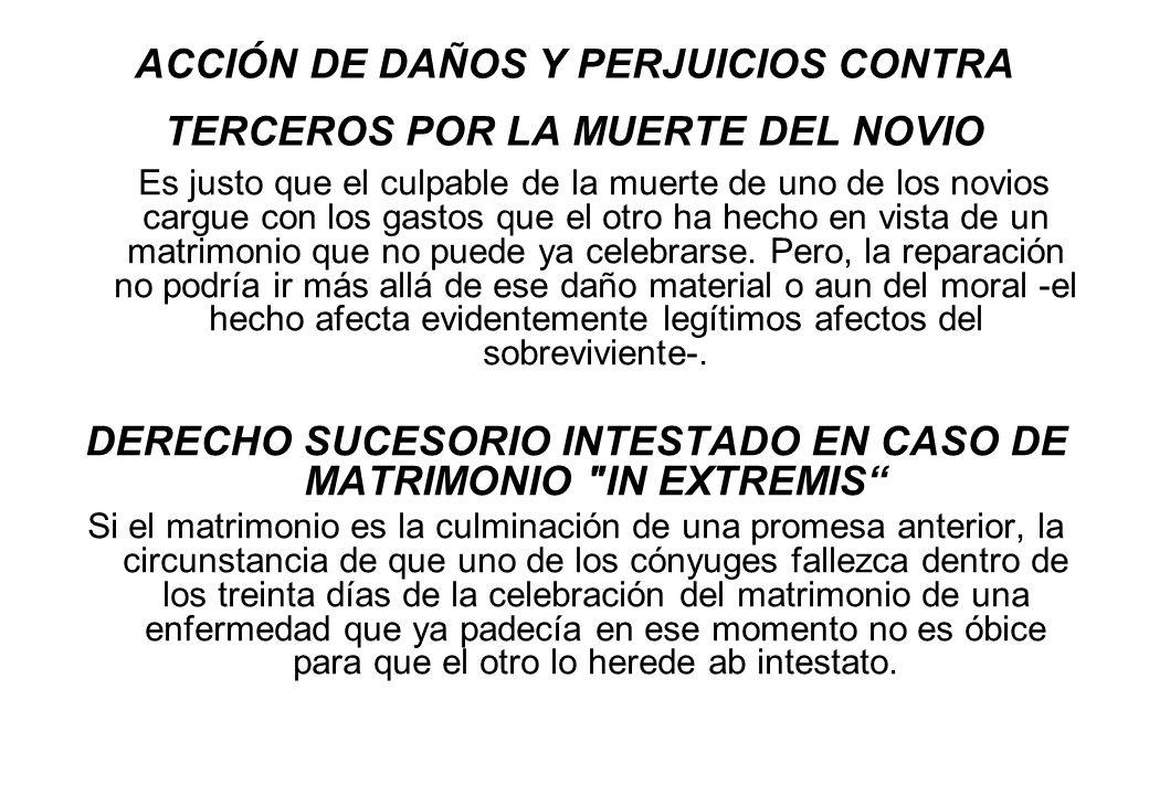 ACCIÓN DE DAÑOS Y PERJUICIOS CONTRA TERCEROS POR LA MUERTE DEL NOVIO