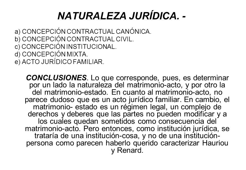 NATURALEZA JURÍDICA. - a) CONCEPCIÓN CONTRACTUAL CANÓNICA.