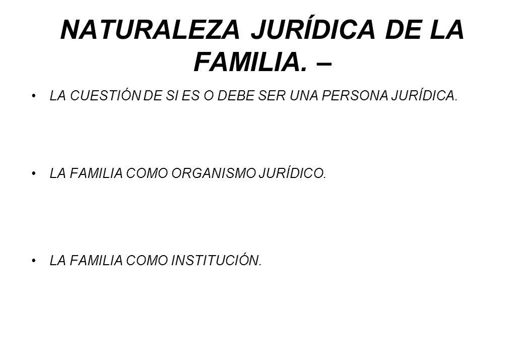 NATURALEZA JURÍDICA DE LA FAMILIA. –