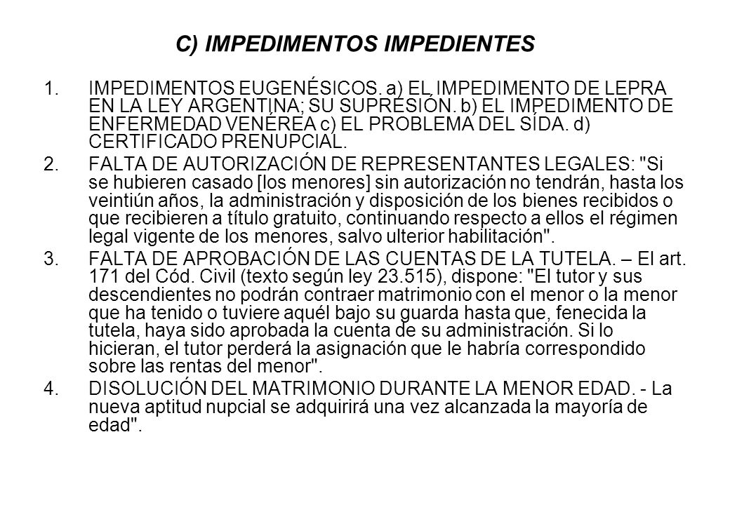 C) IMPEDIMENTOS IMPEDIENTES