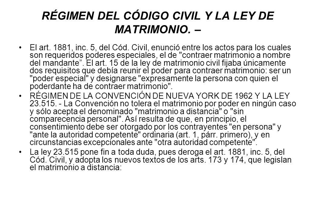 RÉGIMEN DEL CÓDIGO CIVIL Y LA LEY DE MATRIMONIO. –
