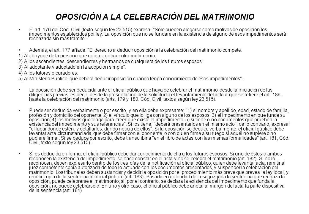 OPOSICIÓN A LA CELEBRACIÓN DEL MATRIMONIO