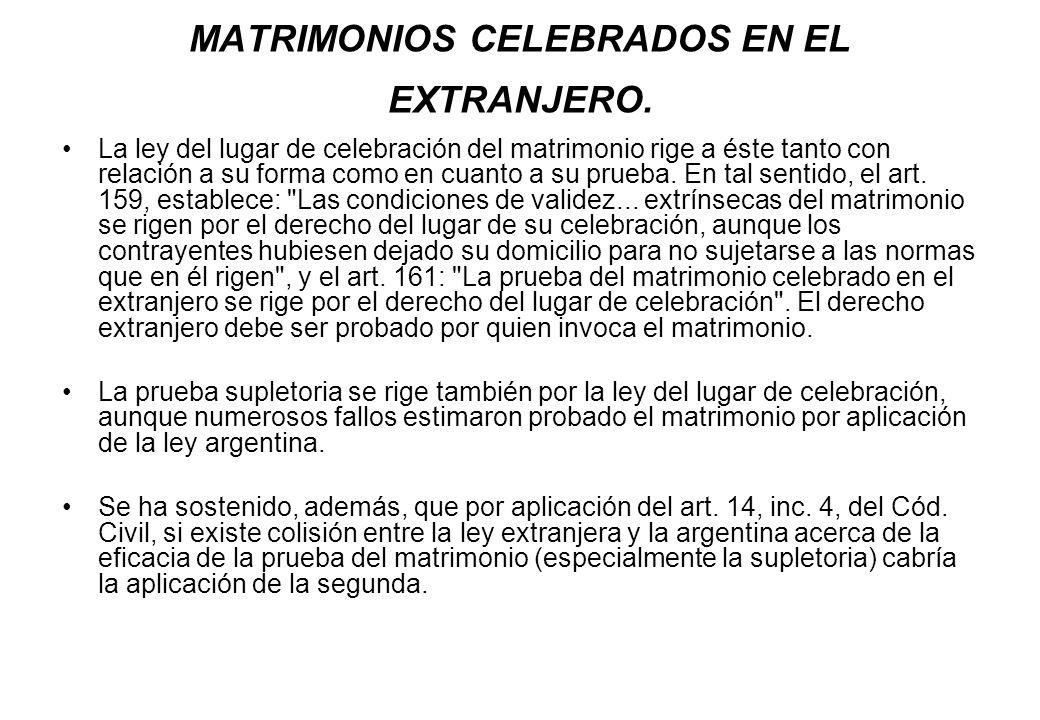 MATRIMONIOS CELEBRADOS EN EL EXTRANJERO.