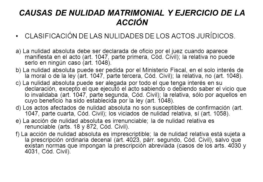 CAUSAS DE NULIDAD MATRIMONIAL Y EJERCICIO DE LA ACCIÓN