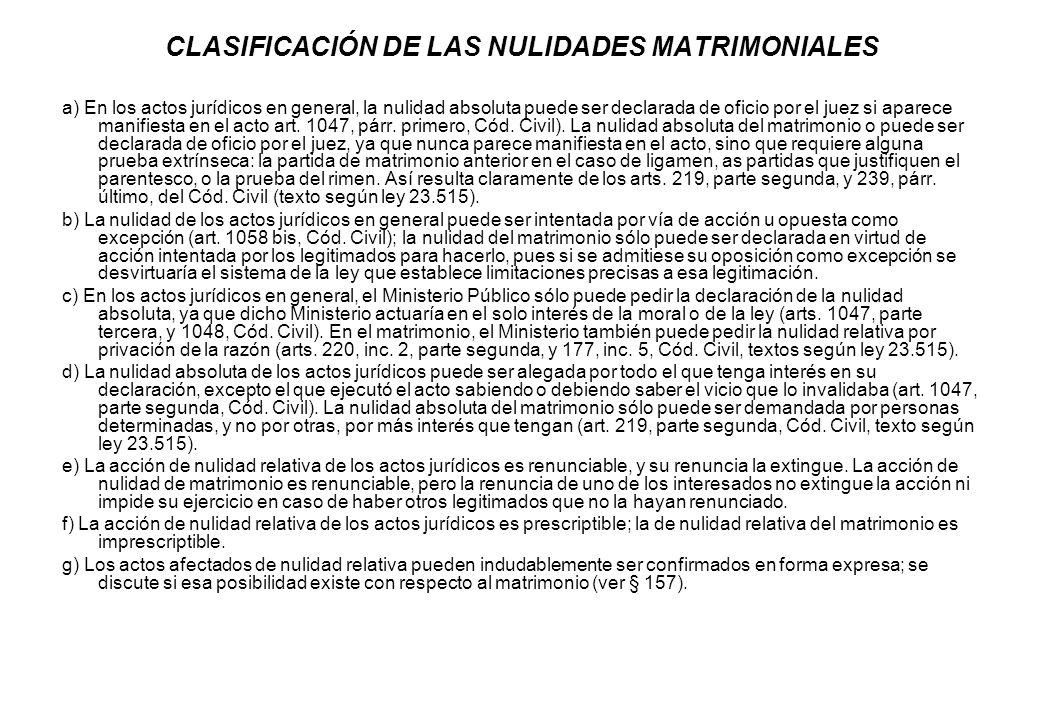CLASIFICACIÓN DE LAS NULIDADES MATRIMONIALES